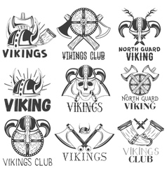 set of vikings labels in vintage style vector image