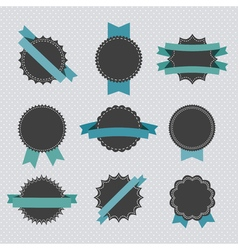 set retro badges and labels with ribbons vector image
