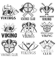 set vikings labels in vintage style vector image