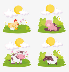 Sheep pig cow chicken chicks clouds sun farm vector