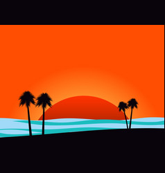 Silhouettes of palm trees on sunset background vector