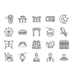 singapore trip icon set vector image