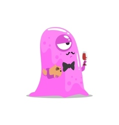 Snobbish Pink Blob Jelly Moster With Moustache And vector image