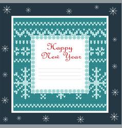 square christmas card with irish jacquard pattern vector image