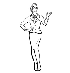 Stewardess in blue suit indicates information vector image