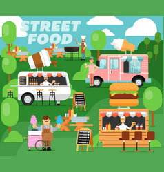 Street food festival poster in flat style vector
