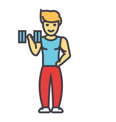 Strong man doing exercises with weights in gym vector