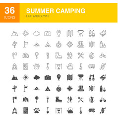 Summer camping line web glyph icons vector