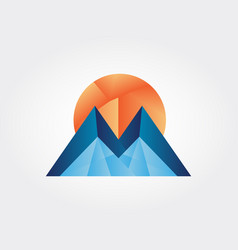 sunny mountains icon vector image