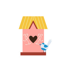 Sweet cute pink birdhouse with small bird flat vector