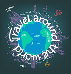 Travel around world world travel concept vector