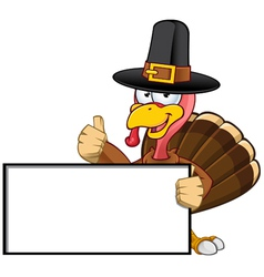 Turkey Mascot Holding A Blank Sign vector image