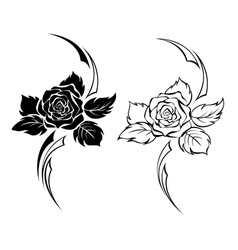 Two Monochrome Roses vector image
