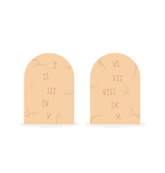 Two stone tablets with ten commandments vector