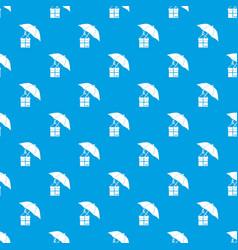 Umbrella and a cardboard box pattern seamless blue vector