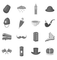 United kingdom travel icons set monochrome vector