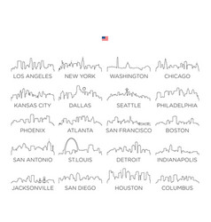 usa skyline city line art design vector image