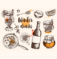 Vintage hand drawn mulled wine and ingredients vector