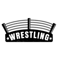 Vintage logo for a wrestling with ring vector