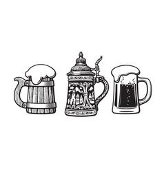 vintage set beer mugs old wooden mug vector image