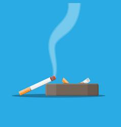 white ceramic ashtray full of smokes cigarettes vector image