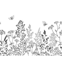 Wild flowers blossom branch seamless border vector