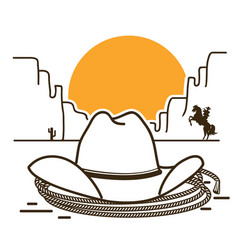 wild west with cowboy western hat on american vector image