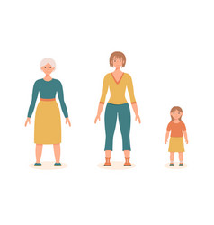 Woman at different ages girl woman old lady vector