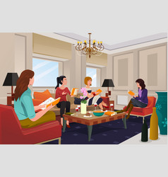 Women in a book club meeting vector