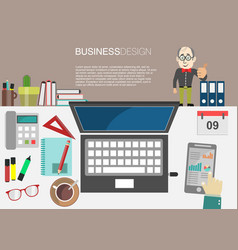 working place office desk concept in flat design 2 vector image