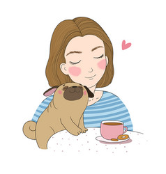 Young girl and a cute pug beautiful woman and vector