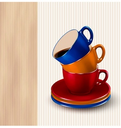Background with colorful cups of coffee Coffee vector image vector image