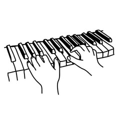 closeup hands playing the keyboard or piano - vector image