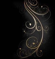 floral golden wave vector image vector image