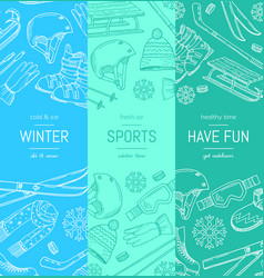 hand drawn winter sports equipment and vector image vector image