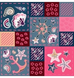Nautical marine patchwork seamless pattern with vector image vector image