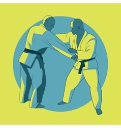 Poster with jiu-jitsu fighters vector image