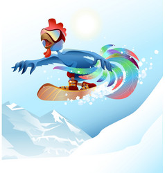 Rooster on snowboard riding mountain Blue cock vector image
