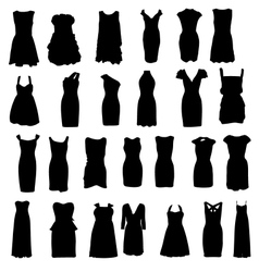 Set of dresses silhouette isolated on white vector image vector image
