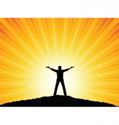 silhouette man with arms raised vector image vector image