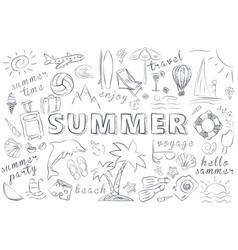 Summer hand drawn icons set vector