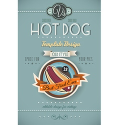 Vintage HOT DOG poster template for bistro vector image vector image