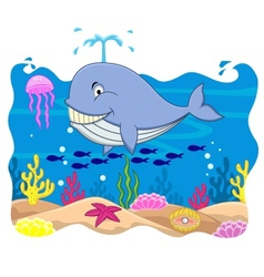 Whale cartoon vector image vector image