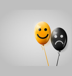 happy and sad faces yellow and black balloons vector image vector image