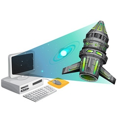 Spaceship floating out of the computer screen vector image