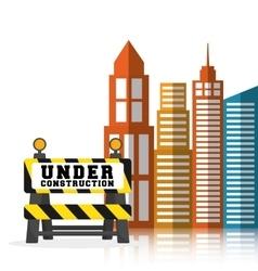 Under construction barrier road building vector