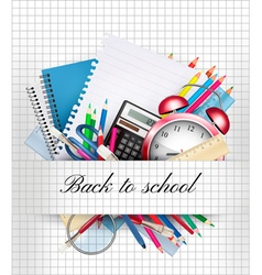 Back to school background with supplies vector