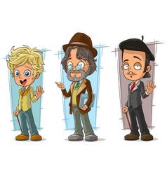 Cartoon intelligent artist character set vector