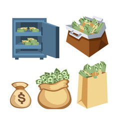 Dollar paper business finance money stack symbols vector