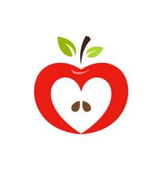 heart shaped apple logo label emblem vector image vector image